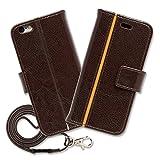 Hy+ iPhone6s(アイフォン6s) 本革レザー ケース 手帳型 ブラウン (ネックストラップ、カードポケット、スタンド機能、液晶保護フィルム付き)