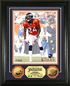 Champ Bailey Framed 24KT Gold Coin Denver Broncos Photo Mint by Hall of Fame Memorabilia