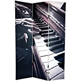 Unique Decorative Folding Floor Screen - 6 ft. Tall Double Printed Music Photo Art Print Room Divider