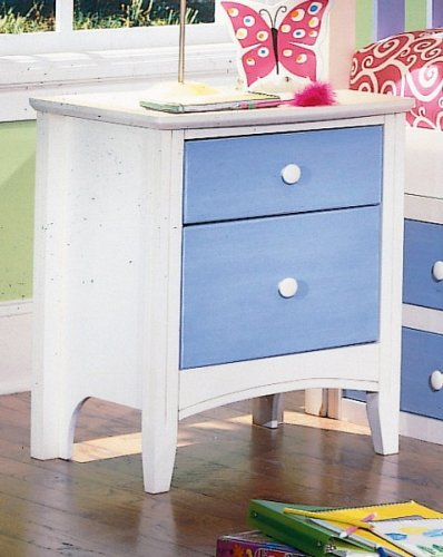 Cheap Kid's Antique White & Blue Nightstand Bedside Table (VF_HEB24-4)