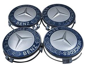 Mercedes benz four blue classic logo wheel center cap set for Mercedes benz hat amazon