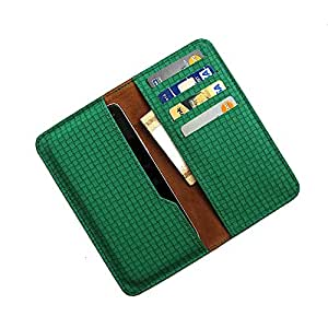 i-KitPit : PU Leather Wallet Flip Pouch Case For Karbonn A27+ (GREEN)