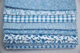 6 Fat Quarter Fabric Bundle - Baby Blue and White - Quilting Patchwork Craft