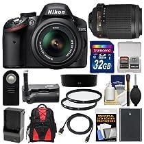 Nikon D3200 Digital SLR Camera & 18-55mm G VR DX AF-S Zoom Lens (Black) with 55-200mm VR Lens + 32GB Card + Case + Battery & Charger + Grip + HDMI Cable + Filters Kit