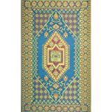 Mad Mats Oriental Turkish Indoor/Outdoor Floor Mat, 4 by 6-Feet, Aqua