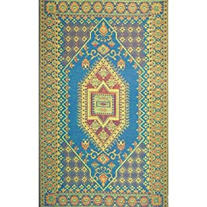 Outdoor Area Rug or Kitchen Mat 6 x 9 Turkish Aqua Patio Indoor Outdoor Rugs Reversible & Waterproof