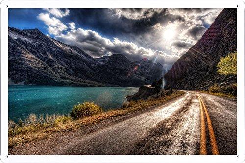 metall-poster-blechschilderplatte-blechschild-plakat-road-asphalt-sun-light-patches-of-light-midday-