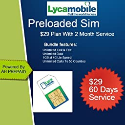 Lycamobile Preloaded Sim Card with $29 Plan Include 2 Month Free Service