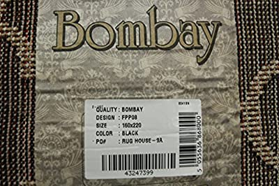 Soft Stylish Modern Black & Biscuit Trellis Living Room Area Rugs - Bombay 5 Sizes Available
