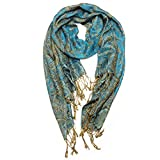 Paskmlna® Reversible Paisley Pashmina Shawl Wrap Elegant Colors (Turquoise/black)