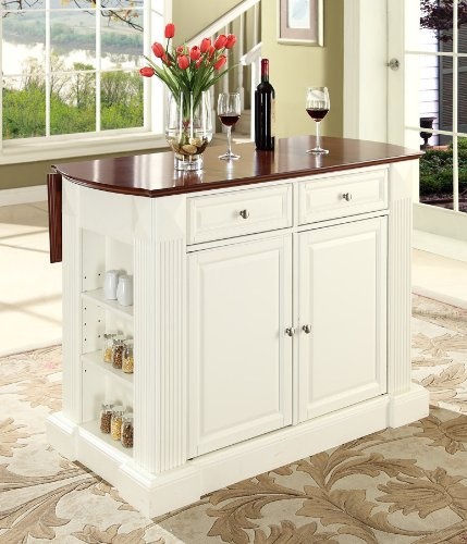 Cheap Crosley Furniture Drop Leaf Breakfast Bar Top Kitchen Island in White Finish (KF30007WH)