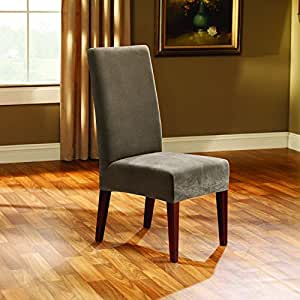 blue dining room chair covers | Amazon.com - Sure Fit Stretch Pique Shorty Dining Room ...