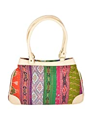 Jaipur Textile Hub Multi Color Cotton & Leather Shoulder Bag - (40 Cm * 30 Cm * 8 Cm)