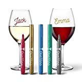Premium Wine Glass Markers (5 Pack + eBook) - Metallic - Erasable - Gift Package - Premium Quality - Hostess Gift - Food Grade Ink - Dishwasher Safe - Fun Wine Accessories - Alternative to Wine Charms