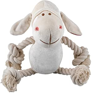 "Simply Fido Bamboo Rayon Plush Rope Dog Toy, 10"", Lolly White Lamb"