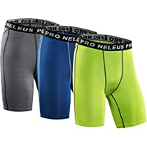 Neleus Men's 3 Pack Compression Short,047#,Grey,Blue,Green,M
