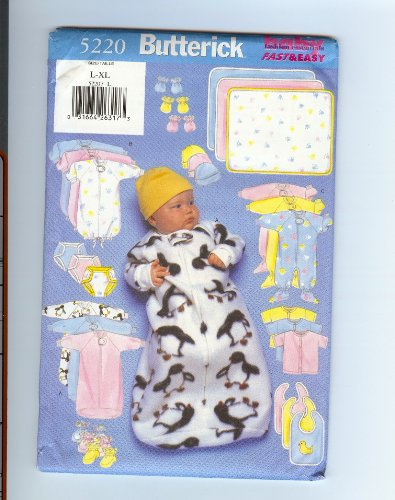 Butterick 5220 - Size L-Xl - Infants Bunting, Jumpsuit, Shirt, Diaper Cover, Hat, Bib, Mittens, Booties & Blanket Patterns (Baby Fashion Essentials - Fast & Easy, Size L-Xl) front-930465