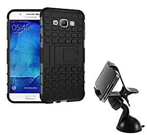 Aart Hard Dual Tough Military Grade Defender Series Bumper back case with Flip Kick Stand for Samsung A8 + Car Mobile Holder Mount Bracket Holder Stand 360 Degree Rotating by Aart store.