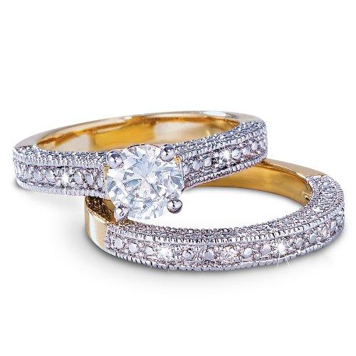 1 Carat Round CZ Wedding Ring Anniversary Band Duet Set