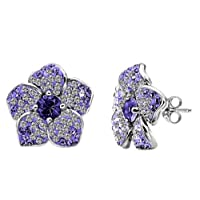 Sterling Silver Purple Fade Flower Earrings made with Swarovski Crystals