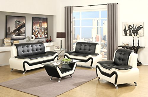US Pride Furniture 4 Piece Modern Bonded Leather Sofa Set with Coffee Table, Sofa, Loveseat & Chair