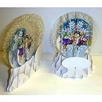 Big Sale 3-D Holiday Cardboard Snow Globe Place Card - Case Pack 100 SKU-PAS525767