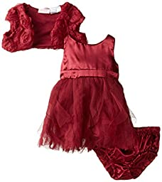 Nannette Baby Girls\' 3 Piece Chiffon Mesh Shrug Dress and Panty, Burgundy, 3-6 Months