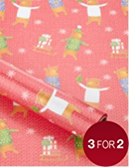Extra-Long Bears in Jumpers Christmas Wrapping Paper - 8m