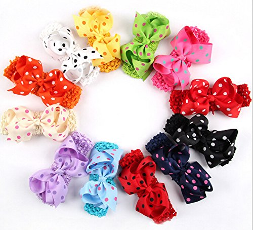 "Qandsweet Baby Girl's Boutique Grossgrain Ribbon 2.5-4"" Bows Headbands (12pack)"