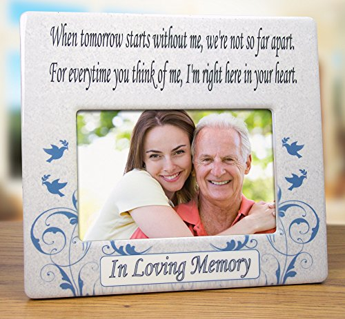 When Tomorrow Starts Without Me Ceramic Memorial Picture Frame - Beautiful Tribute to the Loss of a Loved One -- Traditional Design Goes with Any Decor -- Great As a Keepsake Plaque -- Bereavement Gift -- Sympathy -- Condolence -- In Loving Memory Is ...