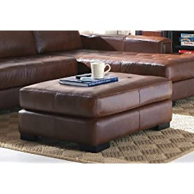 Contemporary Brown 100% Leather Ottoman