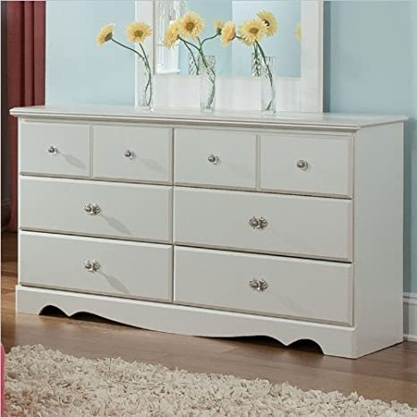 Standard Furniture Daphne 6 Drawer Dresser in White Finish