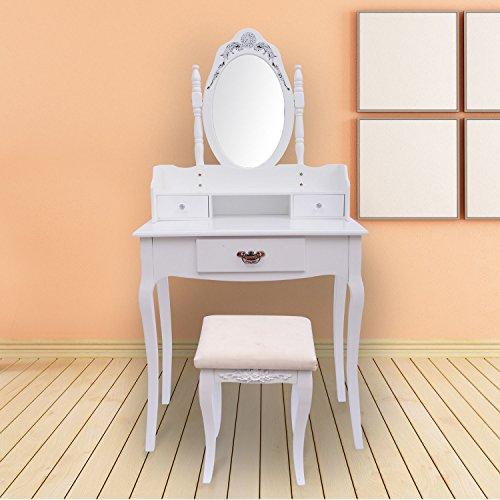 Tocador + Espejo Y Taburete Color Blanco Mueble De Maquillaje Para