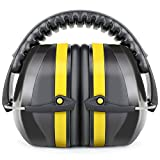 Fnova 34dB Highest NRR Safety Ear Muffs Shooter Hearing Protection, Certified. ANSI S3.19 & CE EN521, Compact, Adjustable Padded Head Band & Swivel Ear Cups with Soft Foam Fits Adults to Kids (Yellow)