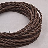32.8ft Brown Twisted 18/2 Rayon Covered Wire,HESSION Antique Industrial Electrical Cloth Cord,Vintage Style Lamp Cord strands UL listed