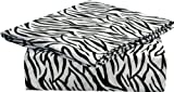 Clara Clark Signature 820 Collection 4 Pc Bed Sheet Set, Queen Size, Zebra Animal Print, White And Black