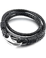 MunkiMix Acier Inoxydable Genuine Leather Cuir Véritable Bracelet Menotte Argent Noir Tressé Homme