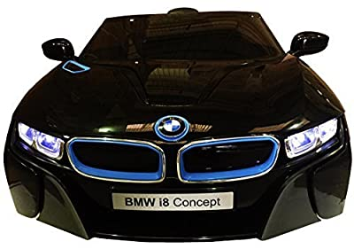 LICENSED BMW I8 CONCEPT BLACK NEW DESIGN 12V TWIN MOTORS KIDS RIDE ON CAR WITH 4 WYAS PARENTAL REMOTE CONTROL + mp3 input + lcd lights + 2 speed option. (BMW I8 BLACK)