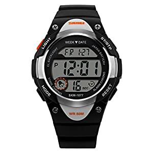 Unisex Casual Children Water Resistant Watch LED Watch Student's Multifunction Electronic Watches Boy Girl Outdoor Sports Watch Christmas Gift Watch (Black)