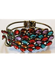 Antique Gold Multi Coloured Peacock Rhinestone Bracelet Bangle