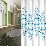 textile rideau de douche blanche bleu BUBBLES 120x200 bagues inclue 120 x 200!