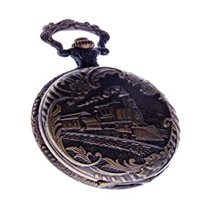 Railway Train Pocket Watch With Chain Quartz Movement Arabic Numerals Full Hunter Vintage Design PW-41