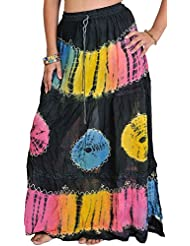 Exotic India Jet Black Batik Skirt With Threadwork - Black