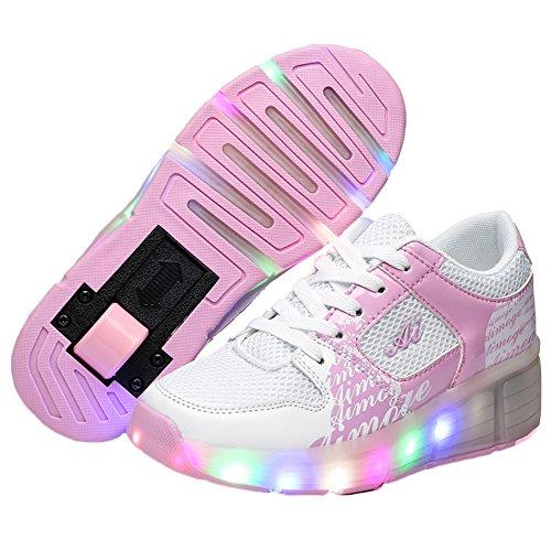 KE Unisex Led Licht Heelys Rädern Pulley Schuhe Skates Sportschuhe (CN38=24cm, Pink)