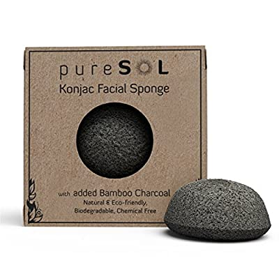 pureSOL Konjac Facial Sponge - Activated Charcoal