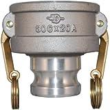 PT Coupling CXA Series Aluminum Reducer Cam and Groove Hose Fitting, CXA Short Reducer, Brass (HB) Cam Arms, Coupler x Adapter