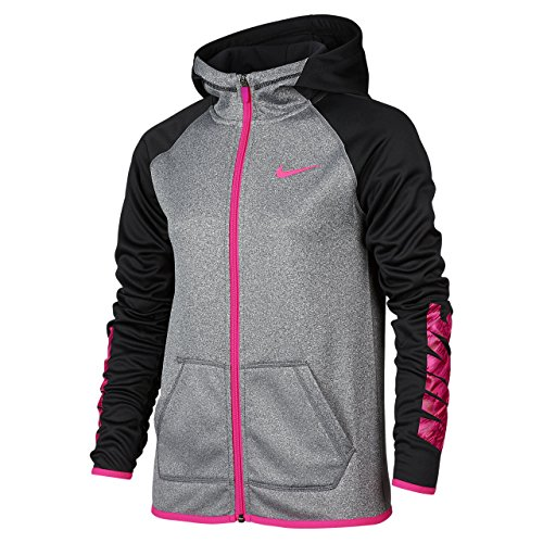Girls' Nike Therma Training Full-Zip Hoodie Black Grey Pink 806017-032 (M) (Nike Clothes compare prices)