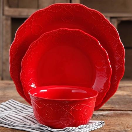 The Pioneer Woman 82780.12R Cowgirl Lace 12-Piece Dinnerware Set Red 4-Piece 10.75 inch Dinner Plate 4-Piece 8.5 inch Salad Plates 4-Piece 6.25 inch Bowls ... & Red Christmas Dinnerware Sets | Christmas Wikii