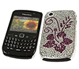 ITALKonline PREMIUM FunkGem PURPLE SILVER FLOWER Diamonte Crystals Back Protective Armour/Case/Skin/Cover/Shell with Screen Protector and MicroFibre Cleaning Cloth for BlackBerry 8520 Curve, 9300 3G