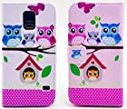 myLife Pink {Owls and Bird House Design} Faux Leather (Card, Cash and ID Holder + Magnetic Closing) Slim Wallet for Galaxy Note 3 Smartphone by Samsung (External Textured Synthetic Leather with Magnetic Clip + Internal Secure Snap In Closure Hard Rubberized Bumper Holder)